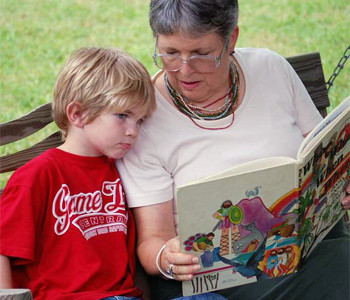 Grandma reading to her grandson
