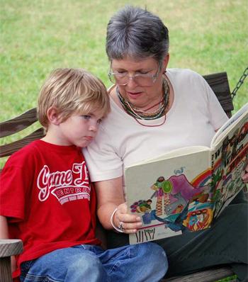 Grandma reading to her grandson